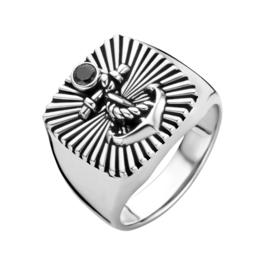 Zilveren Zegelring met Rechthoekige Zwarte Onyx Steen