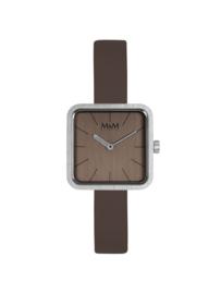 Vierkant M&M Dames Horloge met Taupe Horlogeband