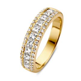 Excellent Jewelry Brede Gouden Ring met 1,19 crt. Diamanten Rij
