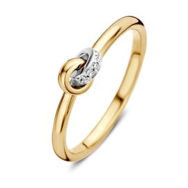 Excellent Jewelry Bicolor Ring met 0,04 crt. Briljanten