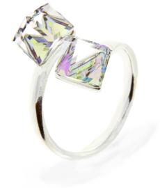 Ring met Dubbele Transparante Swarovski Kubus van Spark