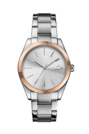 Lacoste Parisienne Zilverkleurig Dames Horloge met Roségoudkleurige Rand