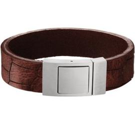 Bruin Lederen Armband met Edelstalen Sluiting - Graveer sieraad