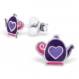 Paarse Theepot Kinderoorbellen - Children's earring