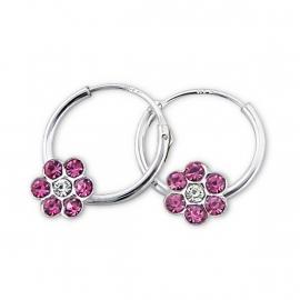 Zilveren creooltjes met een roze bloempje