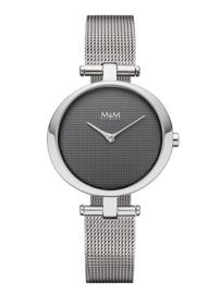 Zilverkleurig Ring-O Dames Horloge met Milanese Horlogeband van M&M