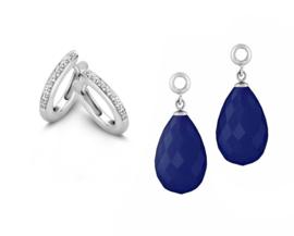 MY iMenso Zilveren Creoli Oorbellen met Zirkonia's + Blauwe Creoli Hangers
