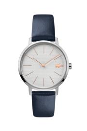 Lacoste Moon Dames Horloge met Donkerblauwe Lederen Horlogeband