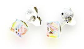 Gekleurde Swarovski Kubus Oorstekers van Spark Jewelry