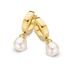 Excellent Jewelry Geelgouden Creolen met Parelhanger