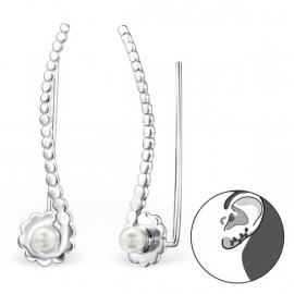 Zilveren Ear Cuffs met Imitatie-parels