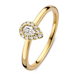 Excellent Jewelry Gouden Dames Ring met Druppelvormig Kopstuk