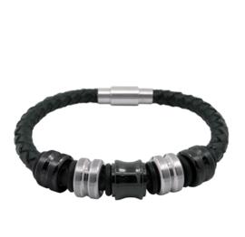XS4M Zwart Leren Armband met Zwarte en Zilveren Bedels