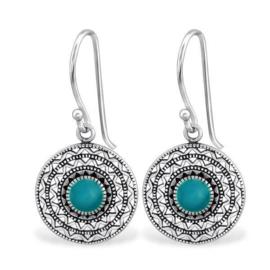 Gedecoreerde Oorhangers van Zilver met Turquoise Emaille