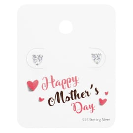 Moederdag - Hart Oorbellen van Zilver - Happy Mother's Day