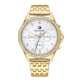 Tommy Hilfiger Goudkleurig Horloge met Zirkonia's voor Dames