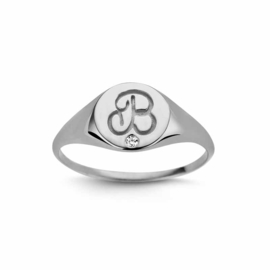 Nomelli Iniziali-Sigillo Ring van Zilver