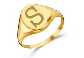 Gouden Ovale Zegelring met Initiaal | Names4ever