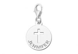 Names4ever Zilveren Kruis Bedel met Naam