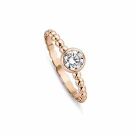 Roségouden Bolletjes Ring van MY iMenso Gold met Zirkonia Kopstuk