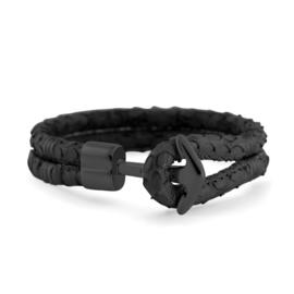 Hooked Zwarte Lederen Armband met Slangenmotief