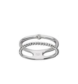 Zilverkleurige Dubbele Ring met Bolletjes en Zirkonia van M&M