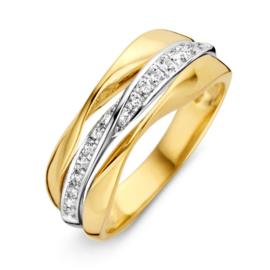 Excellent Jewelry Bicolor Gevouwen Ring met Zirkonia's