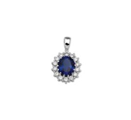 Ovaalvormige Hanger van Zilver met Zirkonia's en Blauwe Saffier