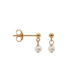 Roségoudkleurige Oorhangers met Witte Parel | Karma Jewelry
