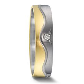Matte 9 Karaat met Zilveren Dames Trouwring met Diamant