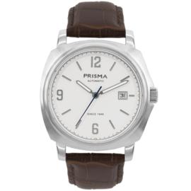 Prisma Zilverkleurig Heren Horloge met Bruin Lederen Horlogeband