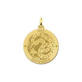 Ronde Chinese Sterrenbeeld Slang Hanger van Goud