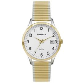 Prisma Zilver- met goudkleurig Flex Heren Horloge met Schakelband