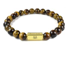 Gold Premium   Tijgeroog Kralen Armband van Blaauw Bloed