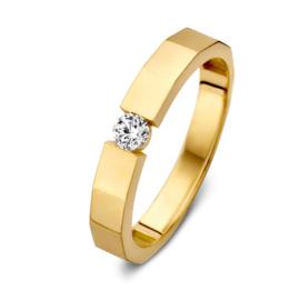 Excellent Jewelry Hoekige Gouden Ring met Zirkonia