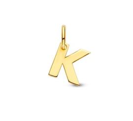 Letter K Hanger in massief 14 Karaat Goud
