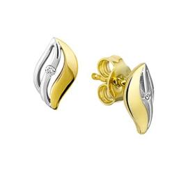 Geelgouden Golvende Oorknoppen met Witgouden Laagje en Diamant