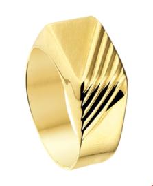 Brede Geelgouden Ring met Diagonale Lijnen