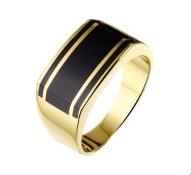 Geelgouden Ring met Rechthoekige Voorkant en Zwarte Onyx