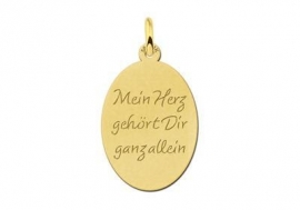 Names4ever Gouden Ovale Graveer Hanger met eigen tekst