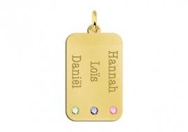 Gouden Dog Tag met Drie Geboortestenen Names4ever GNH63-GS