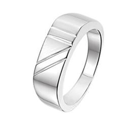 Slanke Gepolijste Zilveren Ring met Meerdere Lijnen