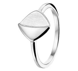 Dames Ring van Zilver met Mat en Gepolijst Vierkantje