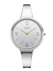 Zilverkleurig M&M Dames Horloge met Slanke Horlogeband