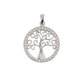 Ronde Levensboom Hanger van Gerhodineerd Zilver met Zirkonia's