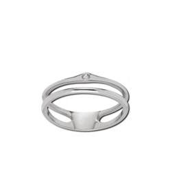 Zilverkleurige Dubbele Ring met Zirkonia van M&M