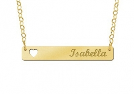 Gouden Bar + Hart Naamketting Names4ever GNKB004