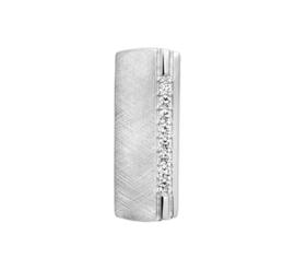 Rechthoekige Gescratchte Hanger van Gerhodineerd Zilver met Zirkonia's