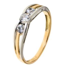 Excellent Jewelry Bicolor Dames Ring met Drie Zirkonia's