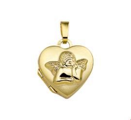 Afsluitbaar Hartvormig Foto Medaillon van Geelgoud met Cupido Decoratie